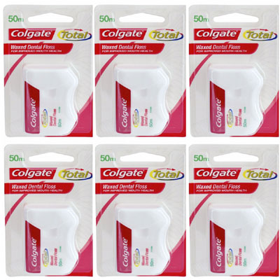 Colgate Total Waxed Dental floss 50m Pack of