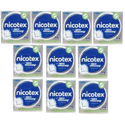 Nicotex nicotine gum Mint plus flavor with teeth whitening 9s pack of 10