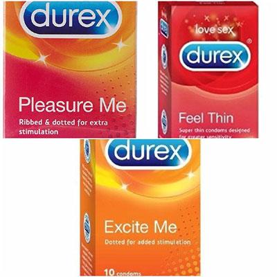 Durex Condoms 10s Assorted Combo pack of 3