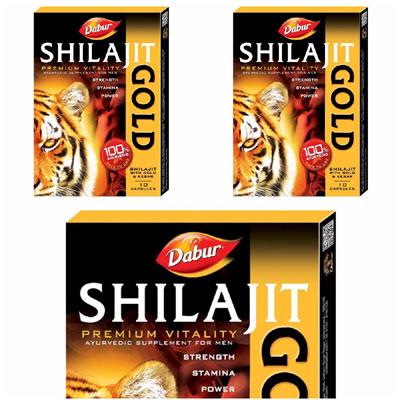 Dabur Shilajit Gold Bharpoor Josh Aur Shakti  30 Caps Pack Of 3