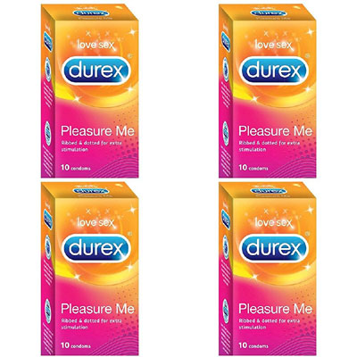 Durex 10s pleasure me condoms combo pack of 4